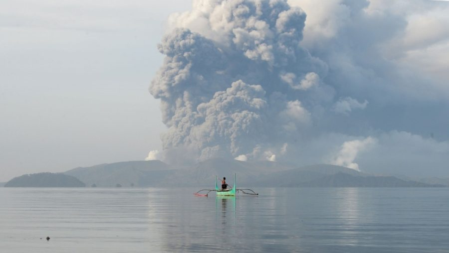 The volcano in the Philippines began erupting on Sunday.