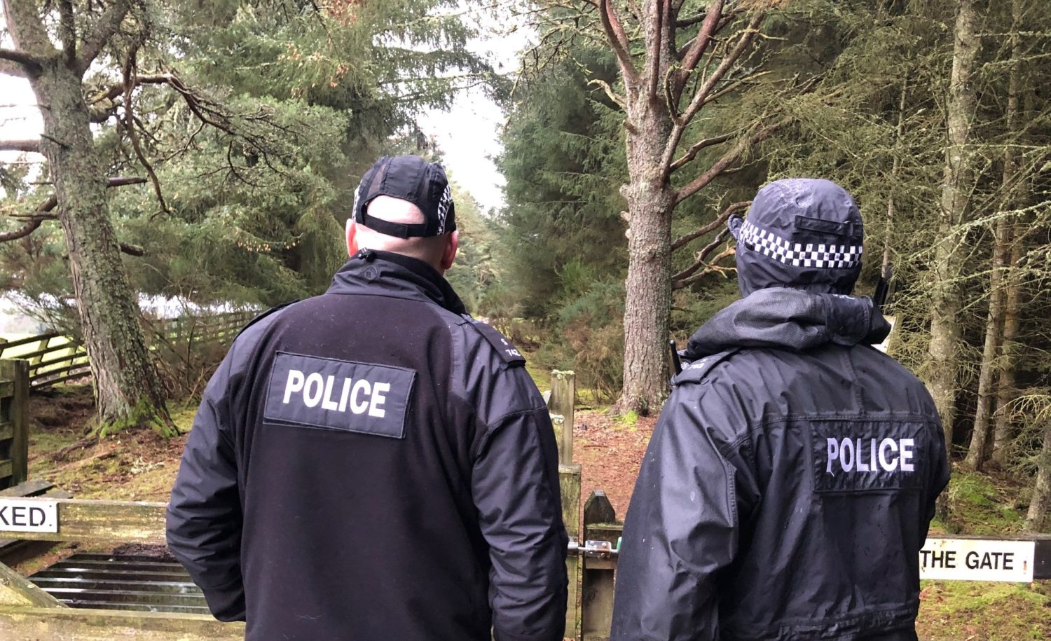 Police at Ruttle Wood in search for missing James Paton.