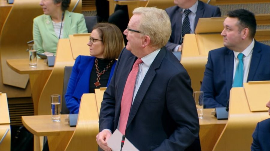 FMQs: Jackson Carlaw interrupted by climate activist.