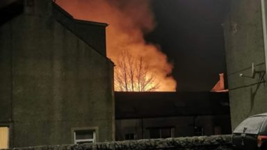 Chemical plant fire, Walkerburn.