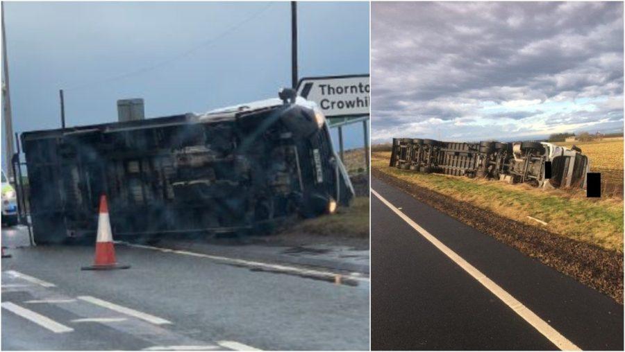 Crash: Lorries overturned on A1.