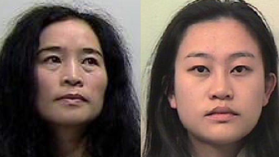Jailed: Xiaodan Wang and her daughter Zixian Long.