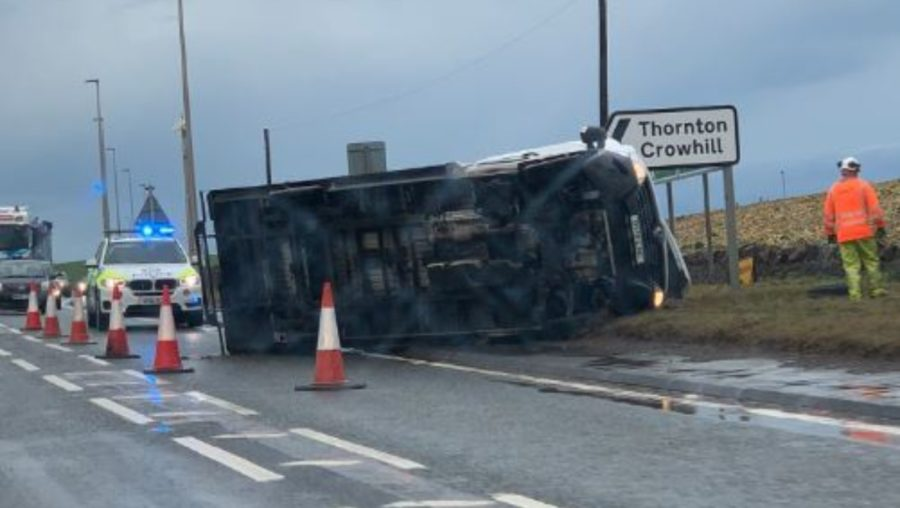 Overturned: One of two lorries which overturned on the A1 earlier this week.