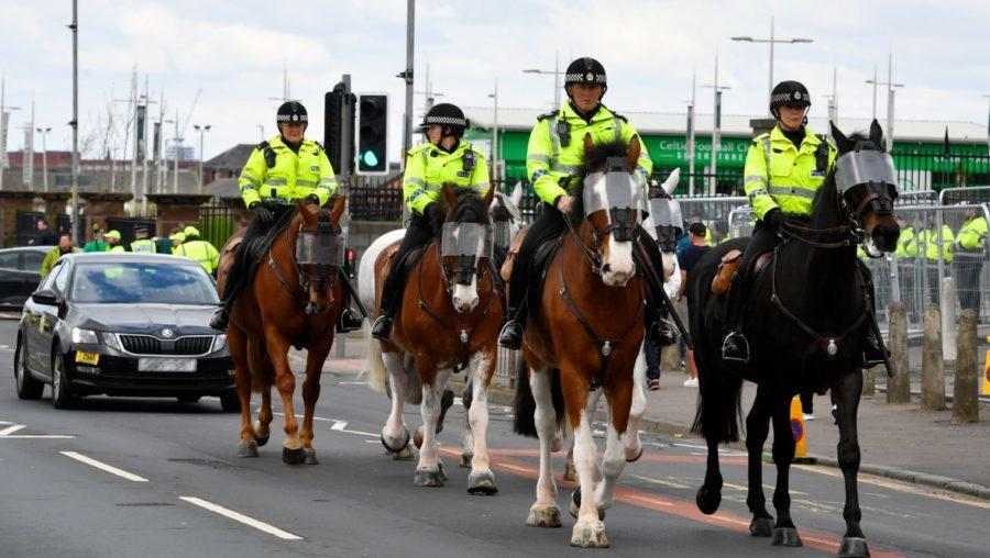 Police horses on patrol outside Celtic Park (file pic).