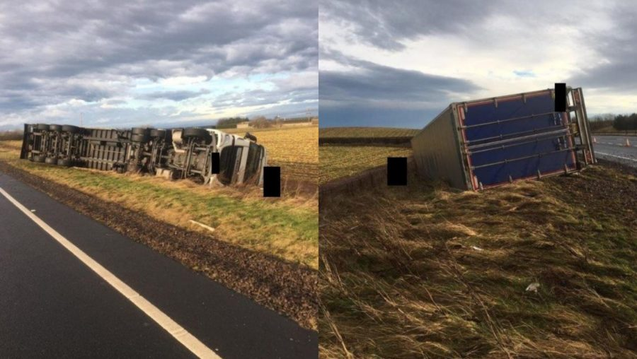 Crash: The lorry overturned due to the weather.