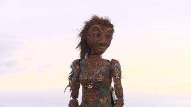 Storm the climate change puppet made of willow
