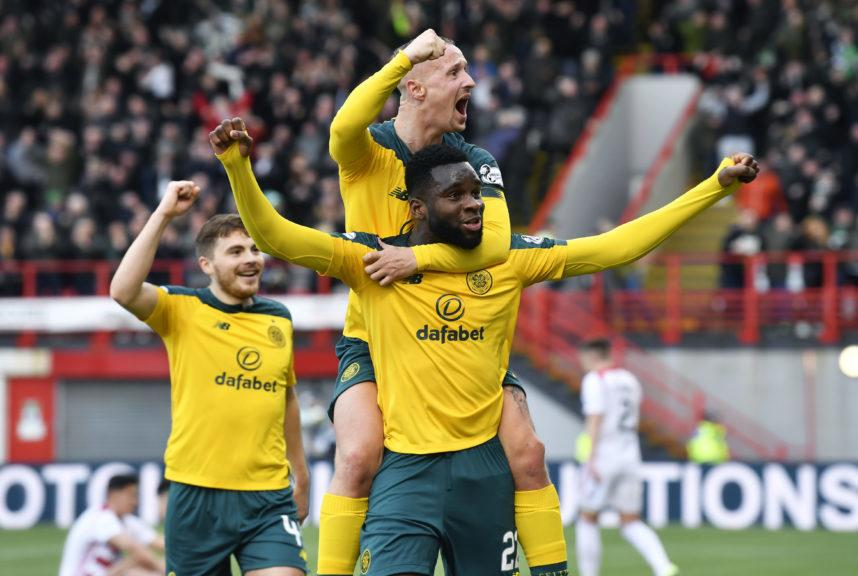 Clear: Edouard celebrates his second and Celtic's third.