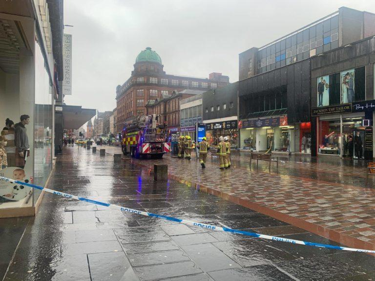 Emergency services at the scene in Argyle Street.