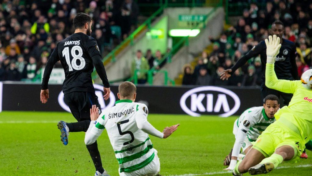 Match: Copenhagen goalscorer Michael Santos puts his side 1-0 up.