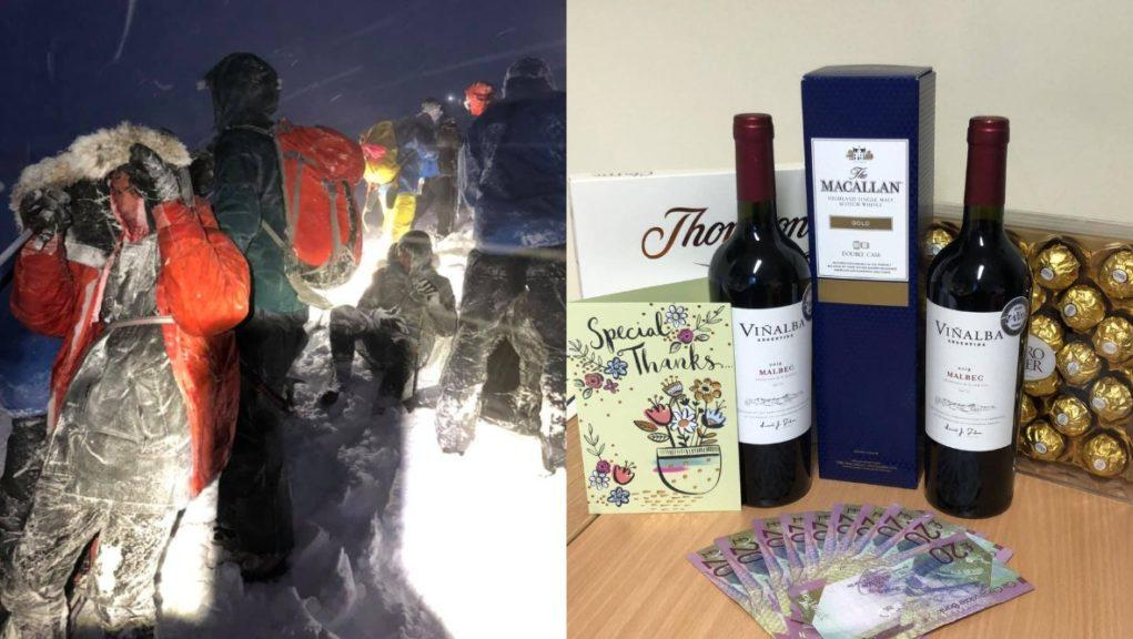 Gratitude: The tourists thanked their rescuers with whisky, wine and chocolates.