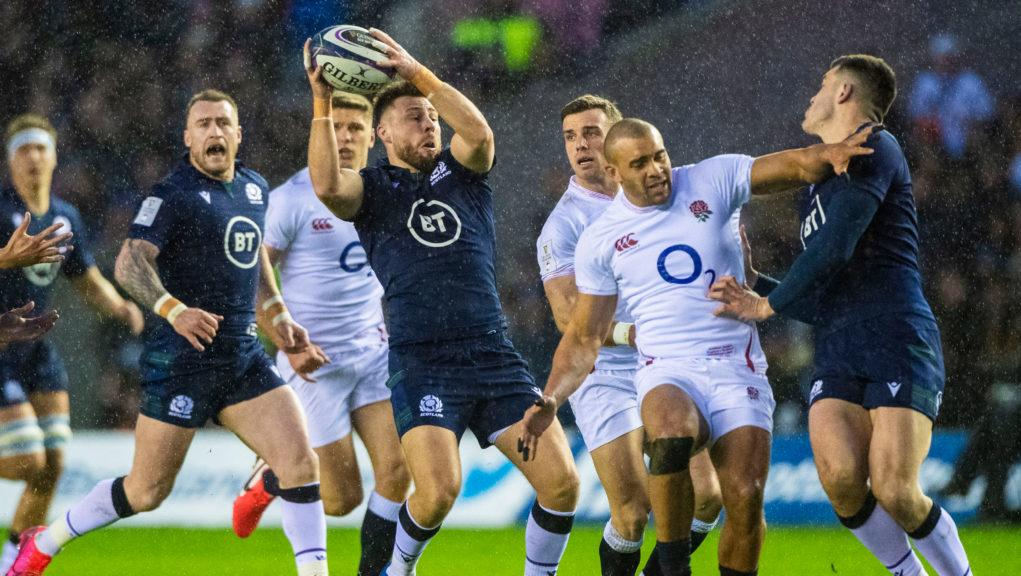 Scotland and England struggled in wild conditions at Murrayfield.