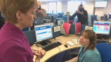 Nicola Sturgeon coronavirus NHS 24 call centre visit.