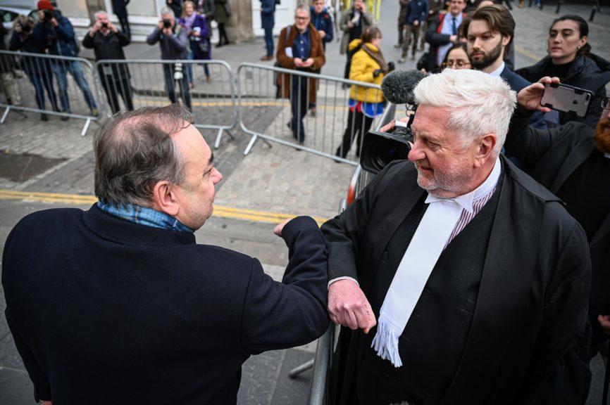 Trial: Gordon Jackson QC (right) with Salmond post-verdict.