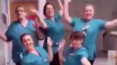 Nurses sing in a bid to remind people to wash their hands.