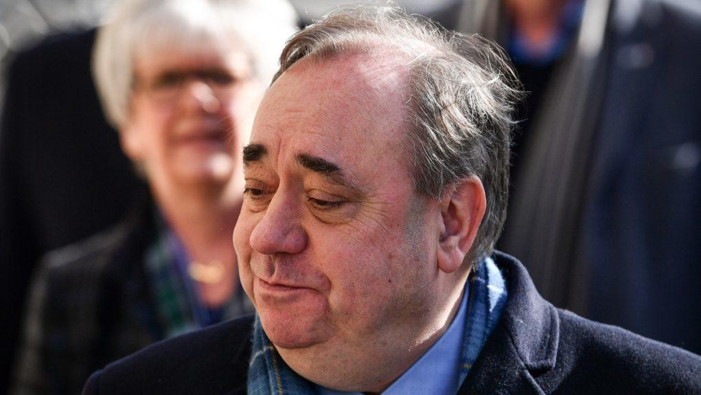 Alex Salmond arrives at the High Court in Edinburgh for the seventh day of his sexual assault trial.