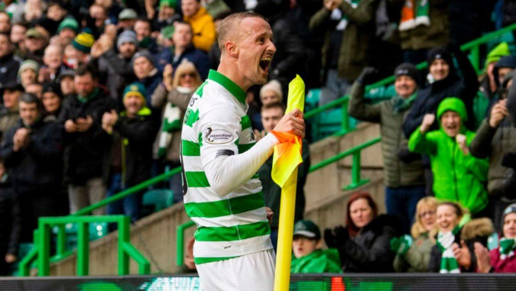 Griffiths: Forward celebrates opening goal.