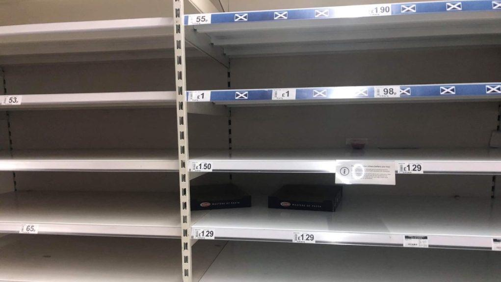 Empty: Shoppers are clearing supermarket shelves.