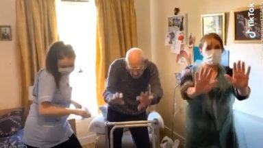 102-year-old man shows off his moves while on lockdown.