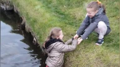 Girls falls into a stream near her house.