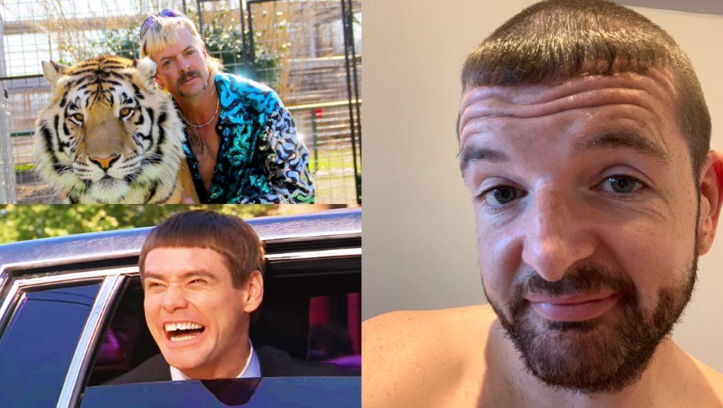 Comical: Kevin Bridges' new haircut was compared to Joe Exotic and Jim Carrey's from Dumb and Dumber.