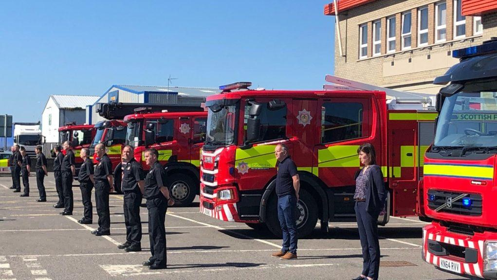 Guard of honour: Firefighters pay tribute to Wilkie.