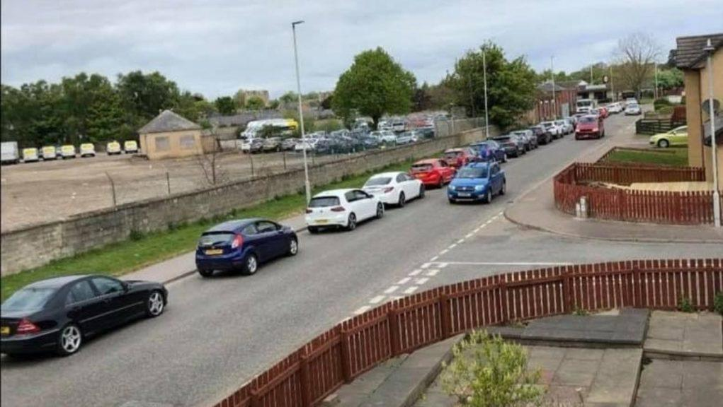 Tailback: Huge queues formed on Ashgrove Road in Elgin.