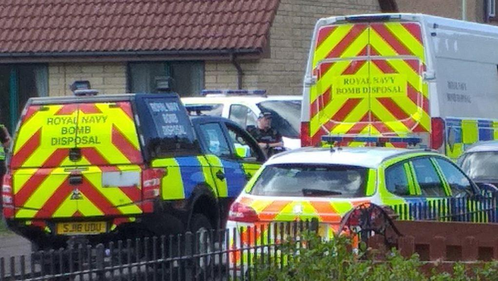 Bomb squad: Unexploded pyrotechnics found in property.