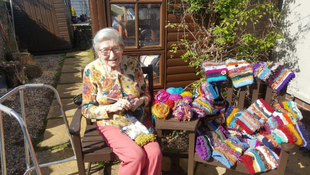 Super-knitter: Irene Mackenzie, 86, has raised more than £1600.