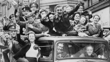 VE Day celebrations in London on May 8, 1945.