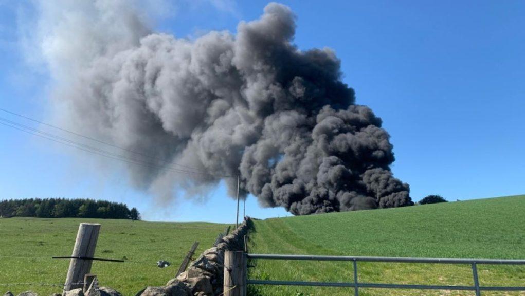 Farm: Fire crews tackle blaze.