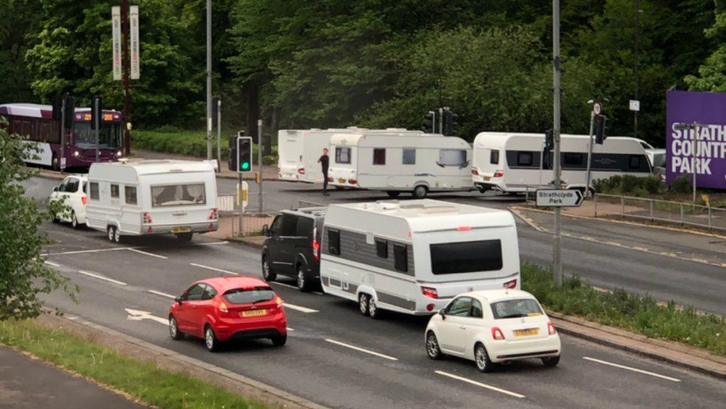Strathclyde Country Park: A number of caravan drivers were ordered to move on.