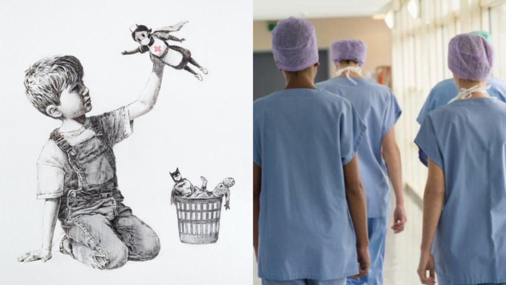 Tribute: Banksy artwork (left) in honour of NHS heroes.