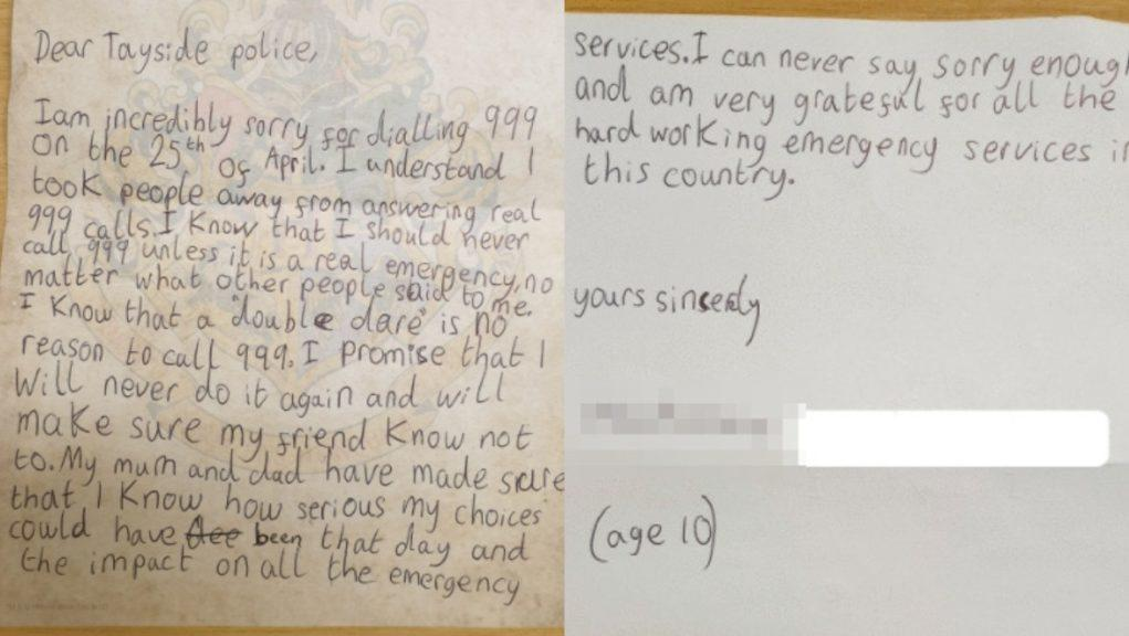 Letter: Girl's apology to police.