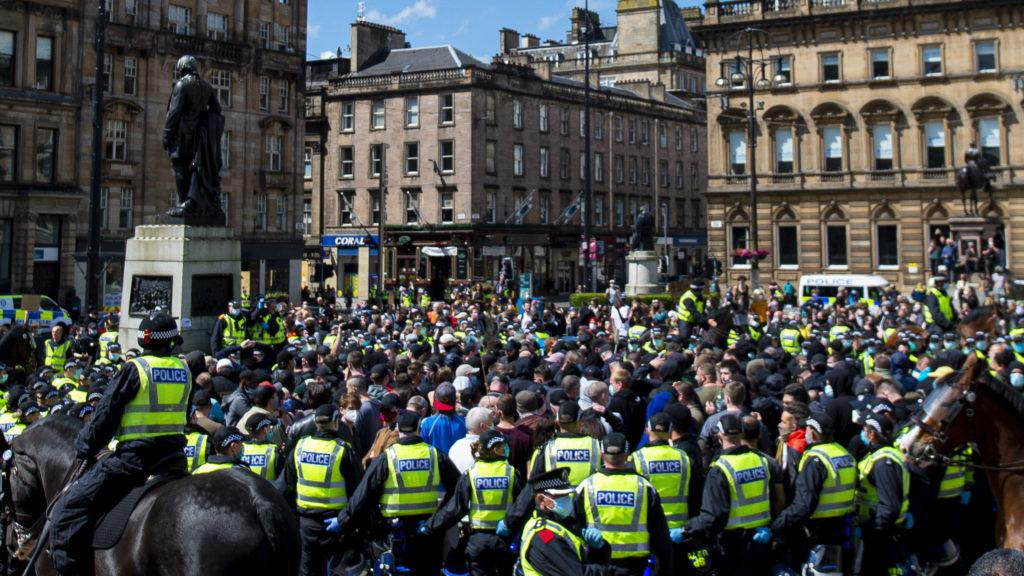 Protesters gather in George Square.