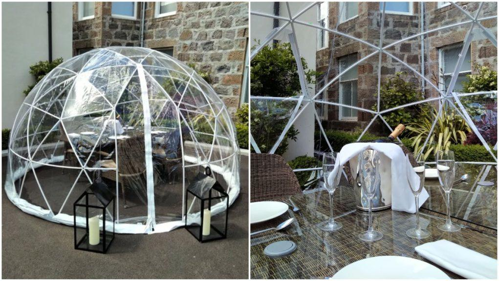 Igloos: Hotel to set up the coverings for outdoor dining.