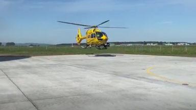 The Scottish Ambulance welcome a new helicopter on the airfield.