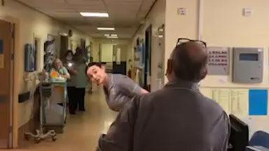 NHS worker sings for stroke patients.