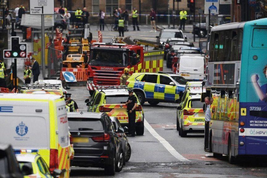 Huge police presence in Glasgow city centre.