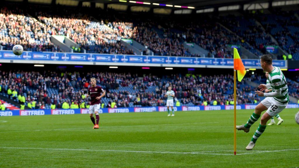 Celtic's Callum McGregor takes a corner at Murrayfield during the 2018 Betfred Cup semi-final.