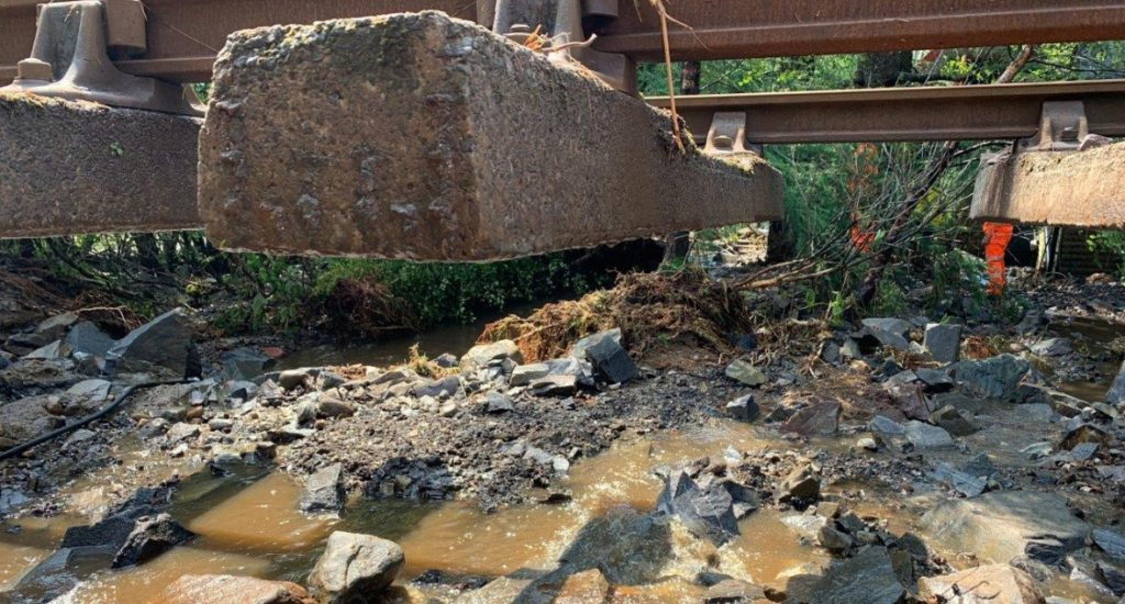 Damage caused by landslip.