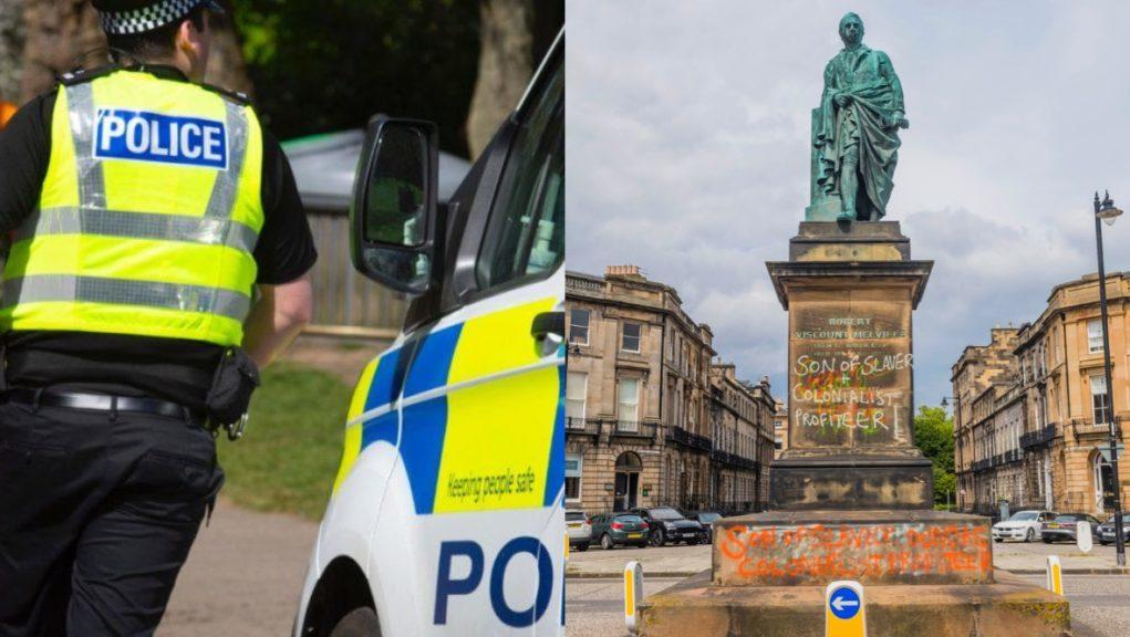 Vandalism fears: Police will patrol statues such as monument to Robert Dundas.