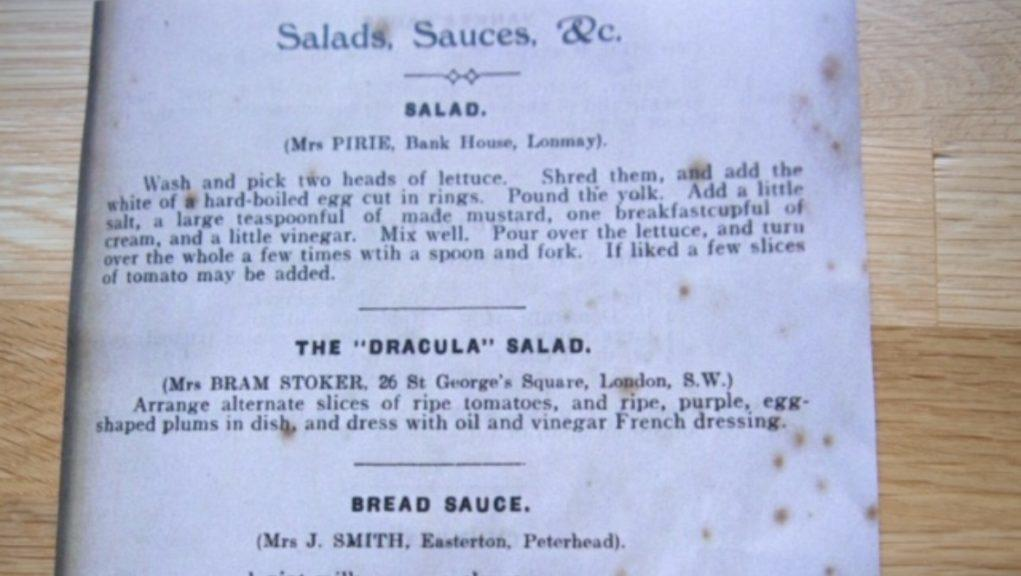 Recipe: Florence Balcombe contributed Dracula Salad to the church recipe book.