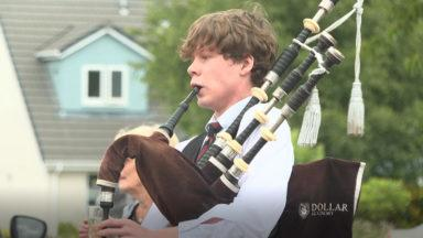 Scot teen has played the bagpipes for every day of lockdown for charity.