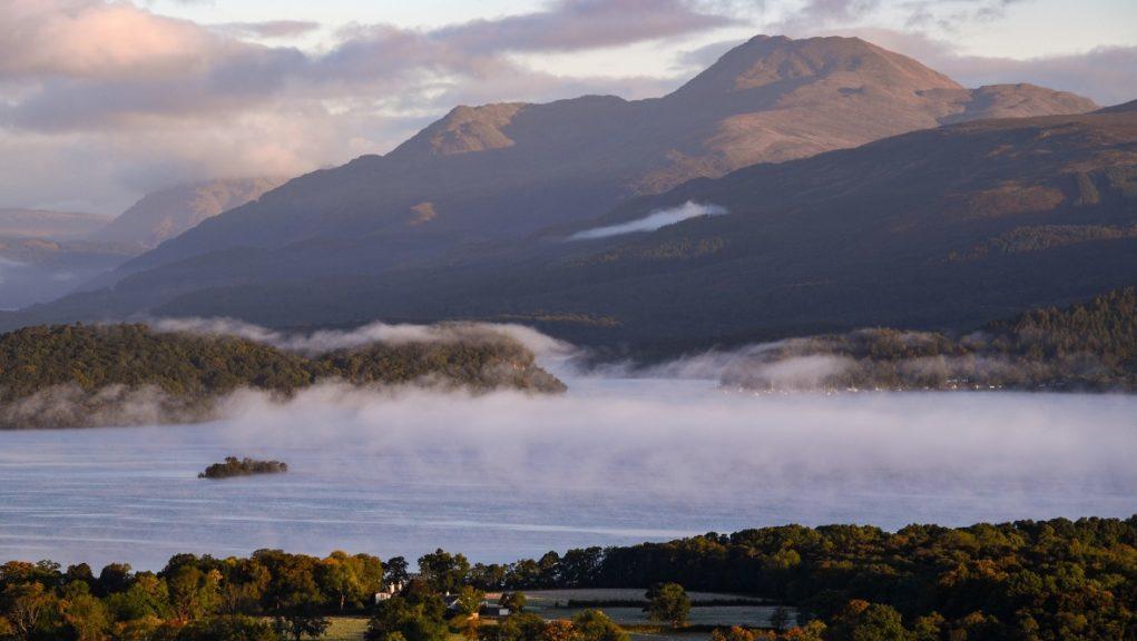 Mist sitting over Loch Lomond.