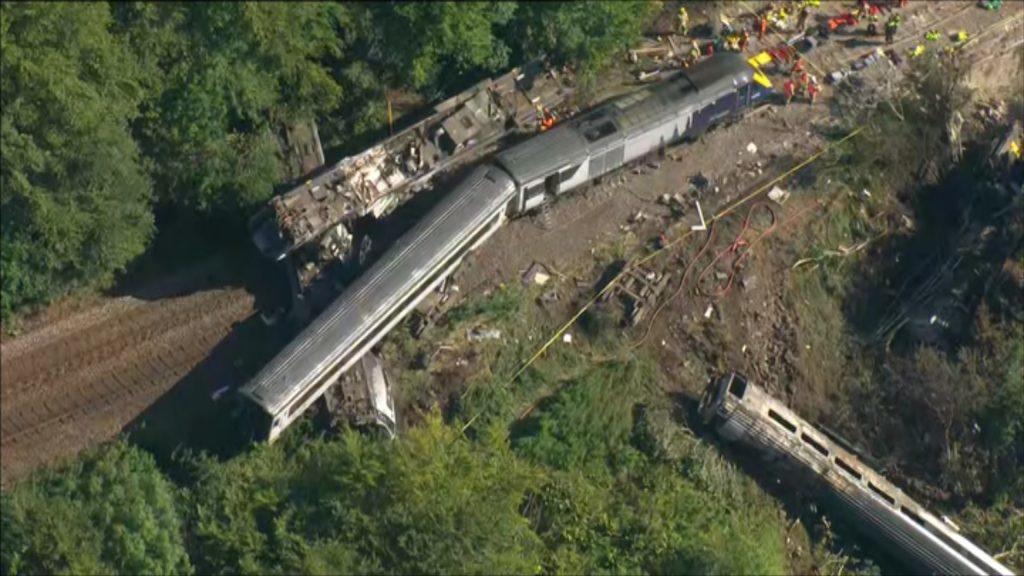 An aerial view of the train following the derailment.