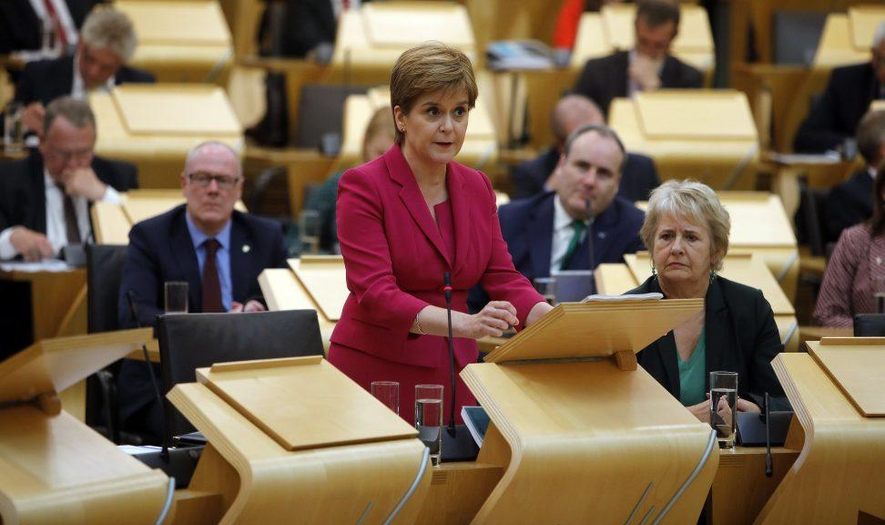 Nicola Sturgeon delivers last year's programme for government (file pic).
