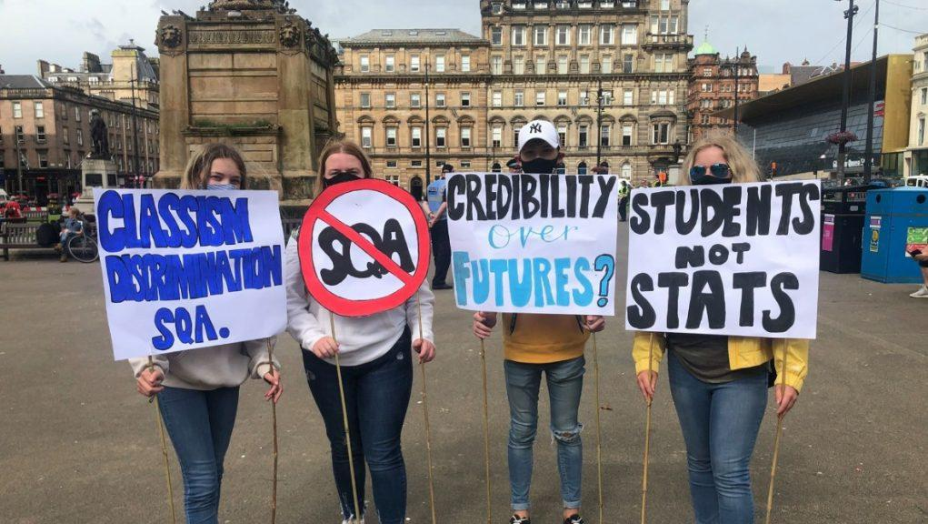 George Square: School pupils protested over the SQA moderation system.