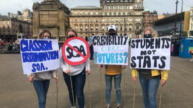 Glasgow, George Square, pupils protest over SQA results.