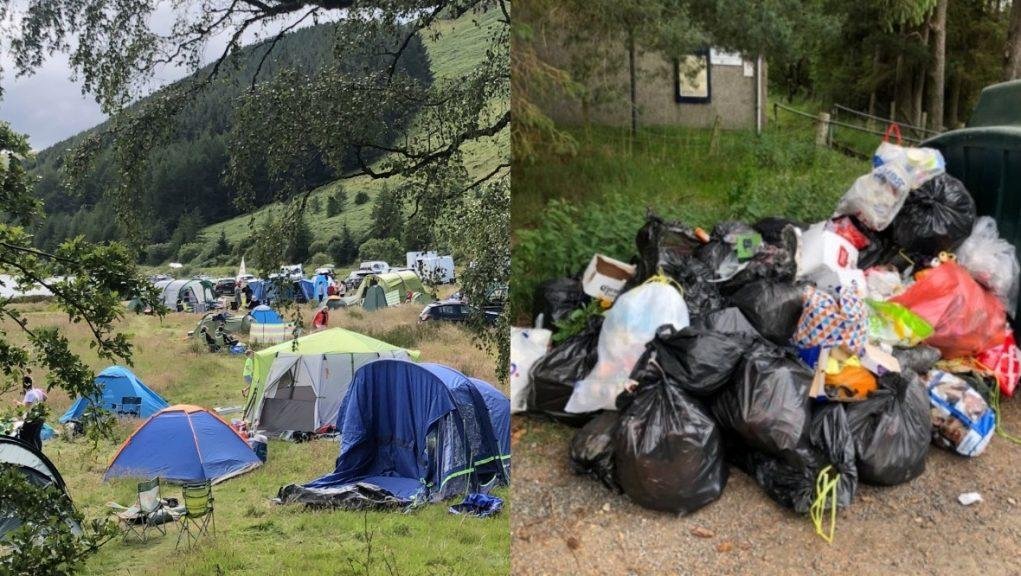 Mess: Campers pitching up at beauty spot have left a mess behind.