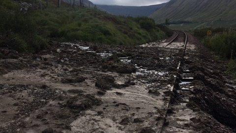 Landslip: Railway line closed.